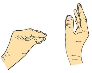 Cette main gauche est dite en « faisceau ».